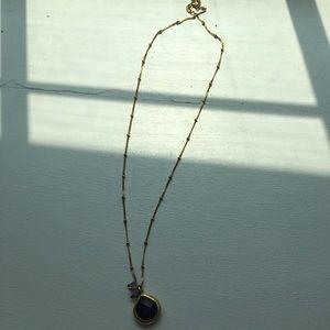 ANTHROPOLOGIE Purple Pendant Bead Crystal Necklace